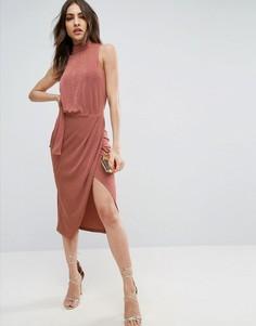Облегающее платье миди ASOS - Розовый