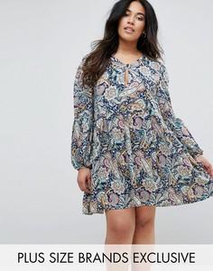 Свободное платье с пышными рукавами и принтом пейсли Boohoo Plus - Мульти