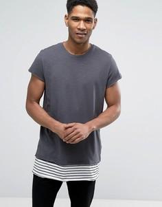 Длинная футболка с удлиненным полосатым подолом Jack & Jones Originals - Серый