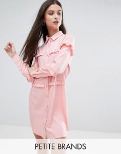 Платье-рубашка с оборками Boohoo Petite - Розовый