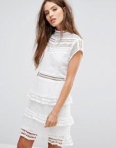 Кружевное платье с короткими цельнокройными рукавами Y.A.S - Белый