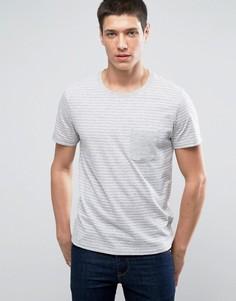 Футболка в полоску с контрастным карманом Selected Homme - Серый
