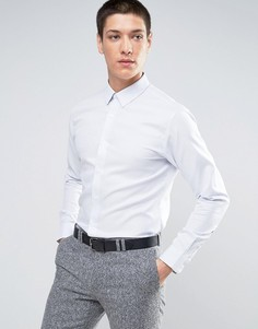 Узкая строгая рубашка из фактурной ткани Selected Homme - Синий