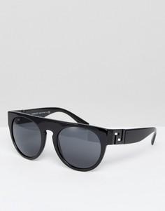 Черные солнцезащитные очки с плоским верхом и вырезом Versace - Черный