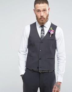 Темно-серый приталенный жилет ASOS WEDDING - Черный