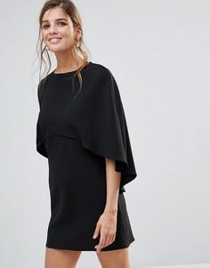 Цельнокройное платье мини с накидкой ASOS - Черный