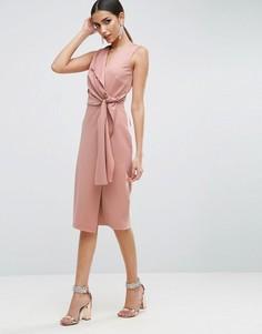 Платье-футляр миди с запахом и завязкой ASOS - Розовый