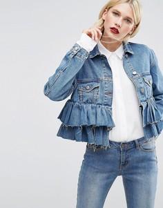 Короткая джинсовая куртка с оборками ASOS - Синий