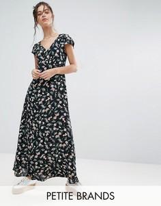 Платье макси с цветочным принтом Yumi Petite - Черный