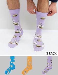 Набор из 3 пар носков с дизайном на тему еды ASOS - Мульти