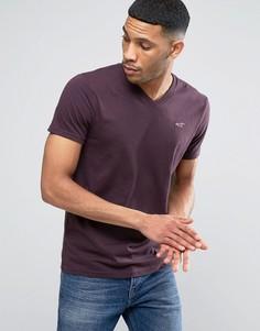 Облегающая фиолетовая меланжевая футболка с вышивкой логотипа Hollister - Фиолетовый