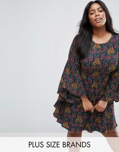 Свободное платье размера плюс с оборками на рукавах Koko - Черный