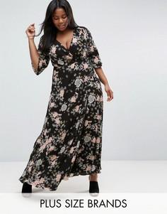 Платье макси с запахом, цветочным принтом и рукавами-кимоно Koko Plus - Черный