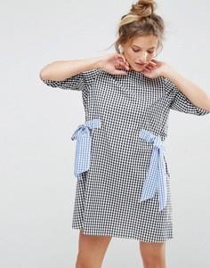 Цельнокройное платье в клетку с бантами ASOS - Мульти