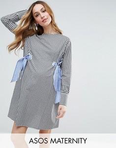 Цельнокройное платье в клетку с бантами ASOS Maternity - Мульти
