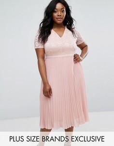 Приталенное платье с кружевным топом и плиссированной юбкой Truly You - Розовый