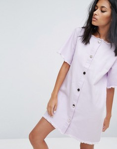 Джинсовое платье на пуговицах с необработанным краем Liquor & Poker - Фиолетовый