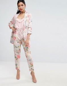 Комбинируемые узкие брюки с завышенной талией и цветочным принтом ASOS - Мульти