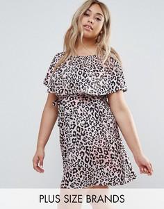 Платье с леопардовым принтом и поясом на талии Club L Plus - Мульти