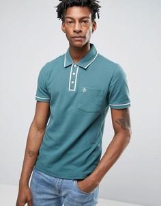 Узкая футболка-поло с карманом и окантовкой Original Penguin - Темно-синий