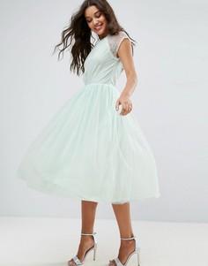 Платье миди для выпускного из кружевного тюля ASOS PREMIUM - Синий
