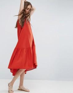 Фактурное платье-трапеция миди без рукавов в решетчатую клетку ASOS - Красный