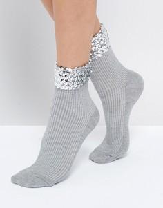 Носки с отделкой серебристыми пайетками ASOS - Золотой