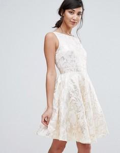 Короткое приталенное платье из жаккарда Little Mistress - Мульти