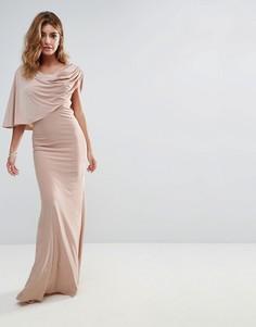 Драпированное платье макси на одно плечо City Goddess - Бежевый
