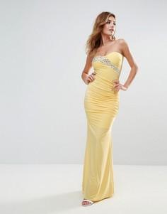 Платье макси с лифом-бандо и шлейфом City Goddess - Желтый