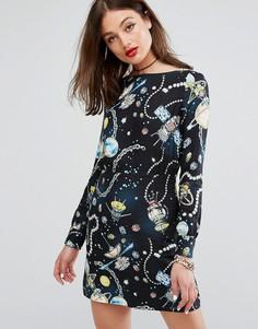 Полушерстяное платье с принтом Love Moschino - Черный