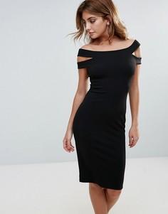 Платье-футляр миди с двойными бретельками City Goddess - Черный