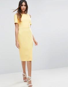 Платье-футляр миди с вырезами на плечах ASOS - Желтый