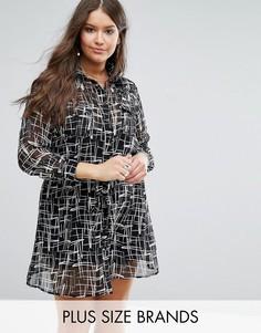 Платье-рубашка с монохромным принтом Koko Plus - Черный