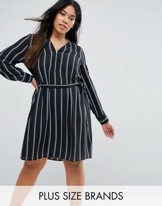 Платье-рубашка в полоску Lovedrobe Plus - Черный