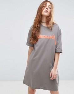 Платье-футболка с неоновым принтом ASOS - Серый
