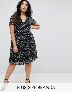 Короткое приталенное платье с принтом Lovedrobe Plus - Черный