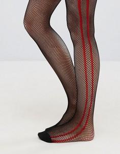 Черные сетчатые колготки с красными полосками сбоку ASOS - Черный