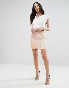 Мини-юбка с пайетками Lipsy - Розовый