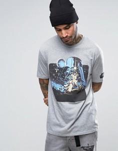 Футболка в винтажном стиле с принтом на рукавах ASOS Star Wars - Серый