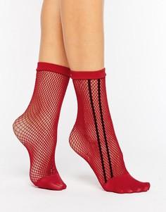 Красные сетчатые носки с черной полоской по бокам ASOS - Красный