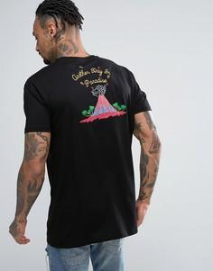 Свободная футболка с вышивкой вулкана ASOS - Черный