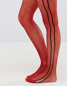 Красные сетчатые колготки с черными полосками сбоку ASOS - Красный