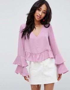 Блузка с рюшами на рукавах ASOS - Розовый