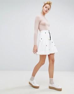 Джинсовая юбка плиссе с декоративной отделкой Sonia By Sonia Rykiel - Белый