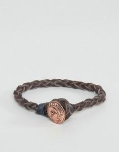 Кожаный браслет с винтажной пуговицей медного цвета Classics 77 - Коричневый