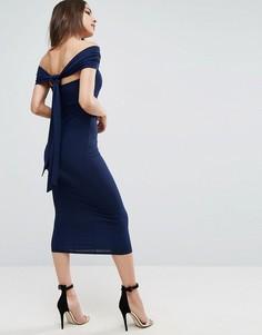 Универсальное облегающее платье миди ASOS - Темно-синий