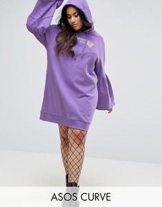 Платье с капюшоном и принтом ASOS CURVE - Фиолетовый