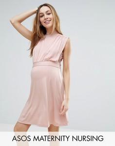 Платье мини с высоким воротом ASOS Maternity NURSING - Розовый