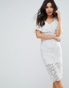 Ярусное кружевное платье-футляр QED London - Кремовый